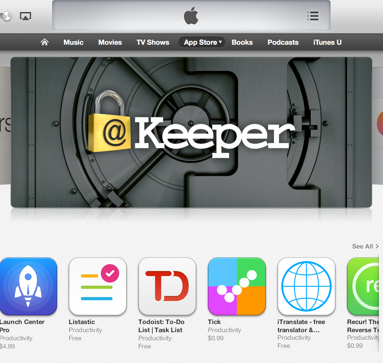Keeper Featured on iTunes!